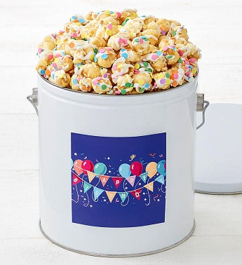 Birthday Balloons Celebration Cornfetti 1-Gallon Popcorn Pail