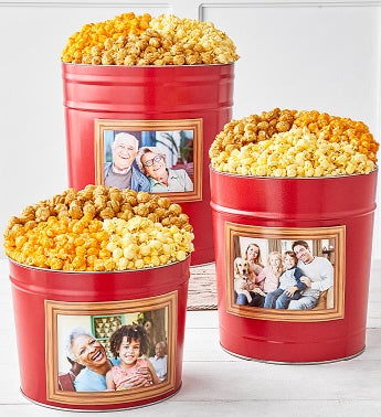 Simply Red Popcorn Tins With Photo Frame Magnet