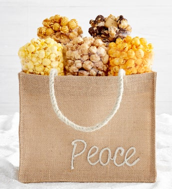 Holiday Burlap Bags - Peace