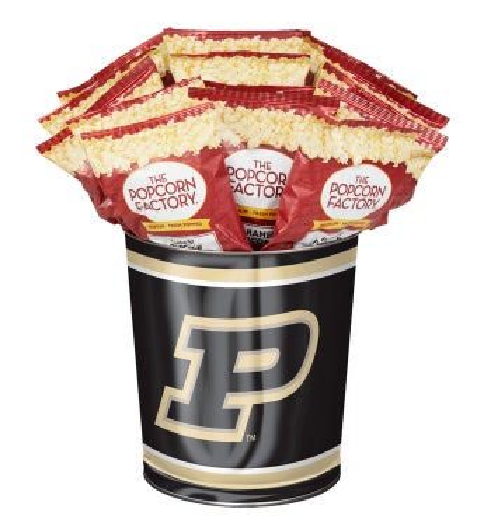3 Gallon Purdue University 3-Flavor Popcorn Tins