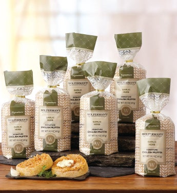 Garlic Herb Super-Thick English Muffins - 6 Packages